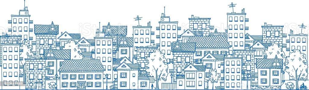 City Drawing vector art illustration