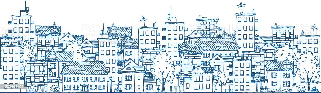 City Drawing vector art illustration