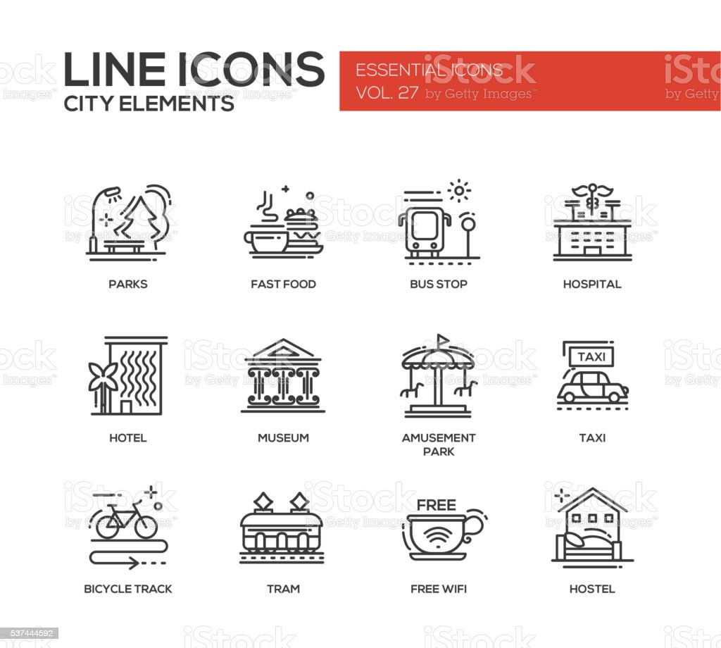 City elements - line design icons set vector art illustration