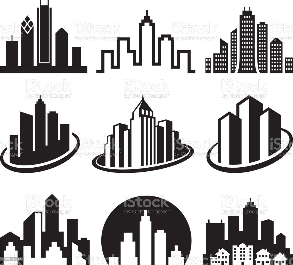 City Emblem black & white icon set vector art illustration