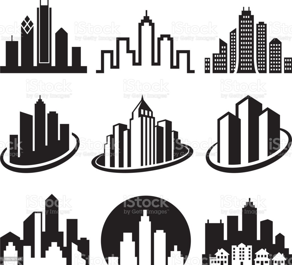 City Emblem black & white royalty free vector icon set vector art illustration