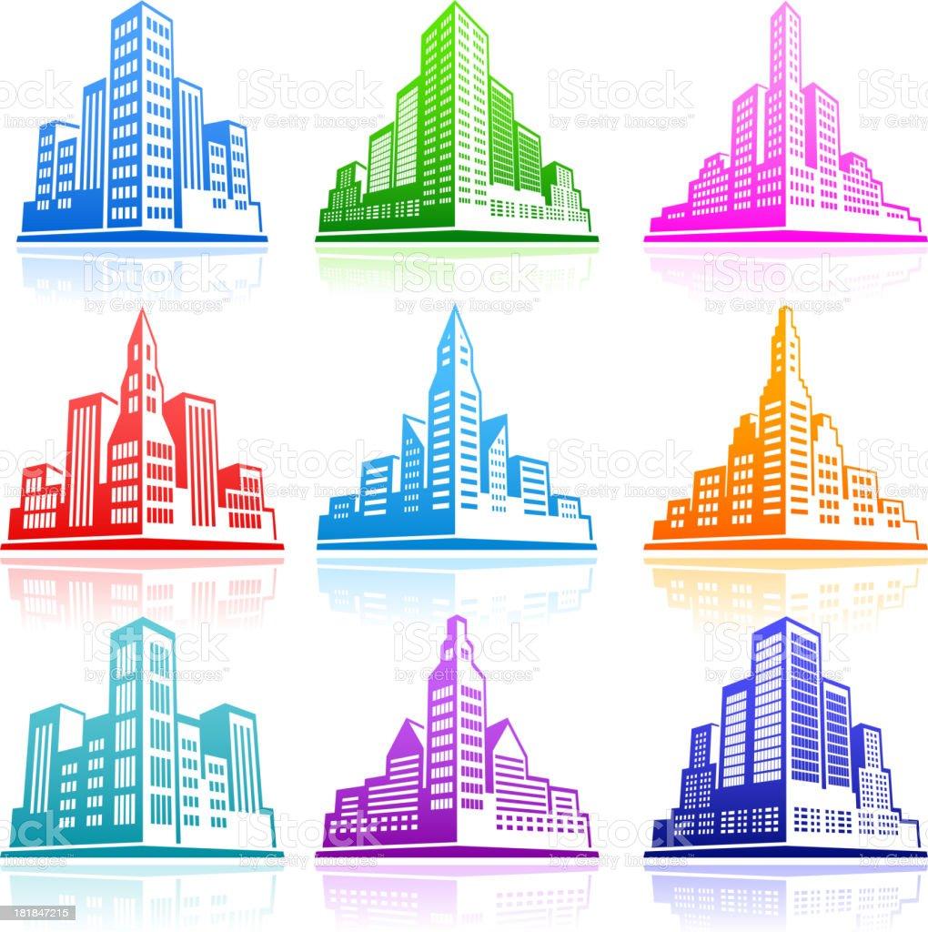 City Emblem color icon set vector art illustration