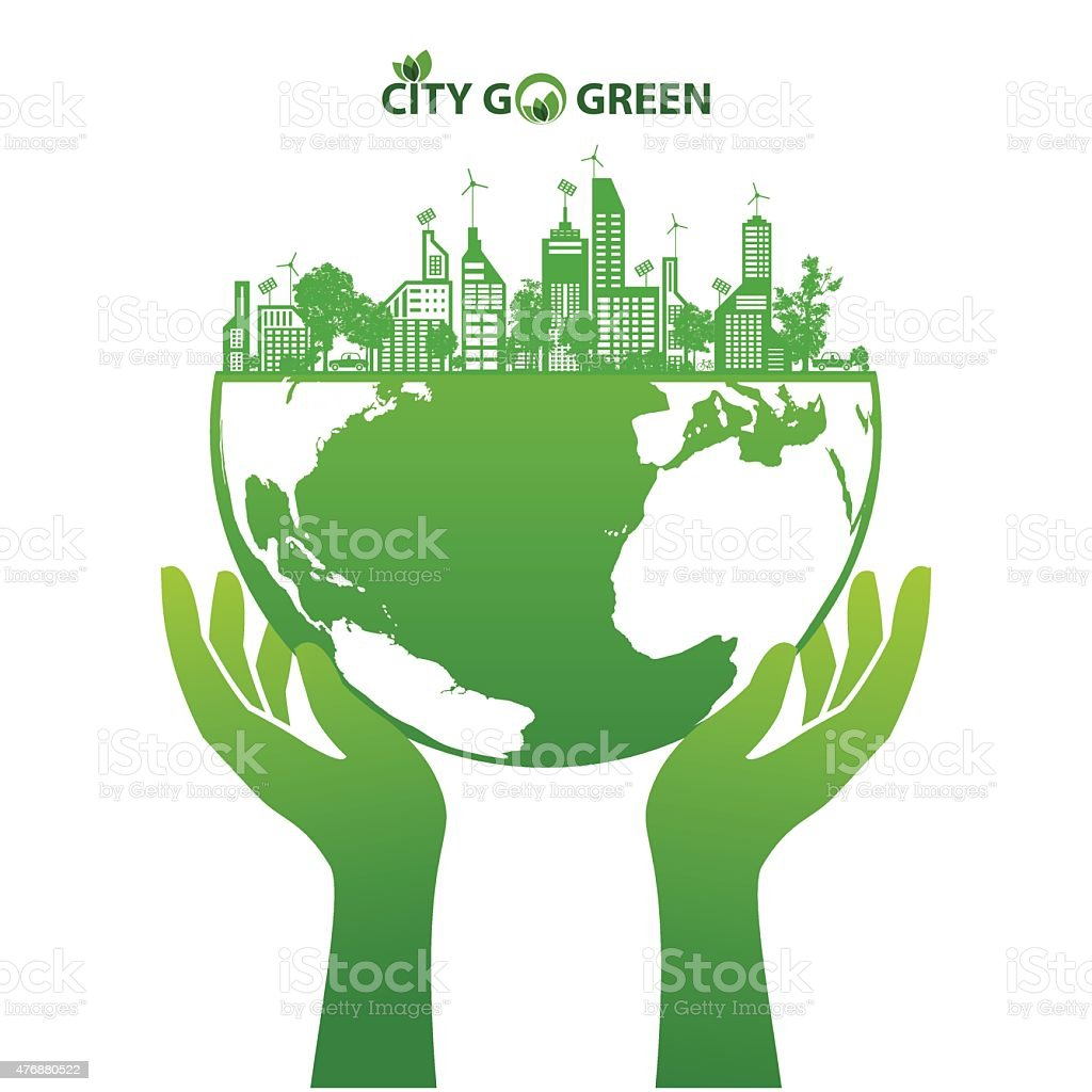 City energy conserve with green earth and forest abstract vector art illustration