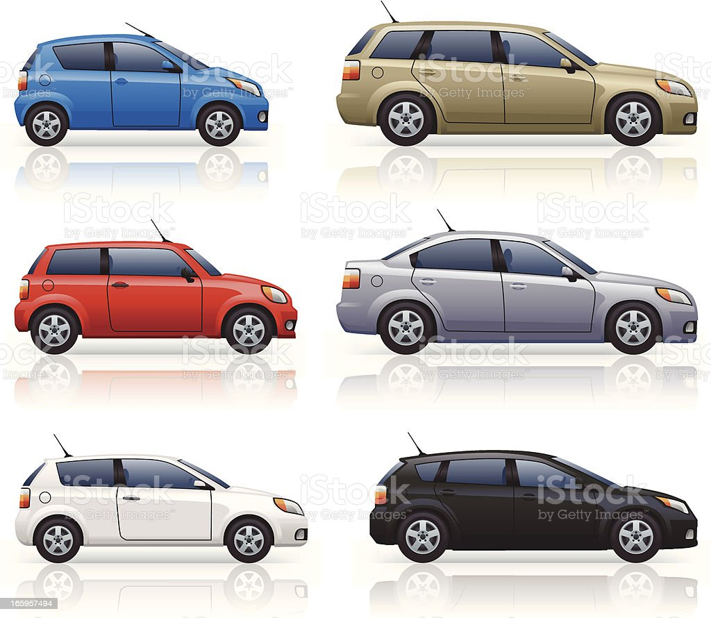 City & Family Cars vector art illustration