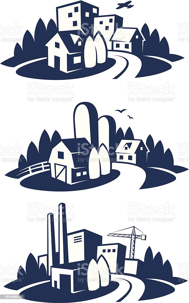 city, farm and industry icons vector art illustration