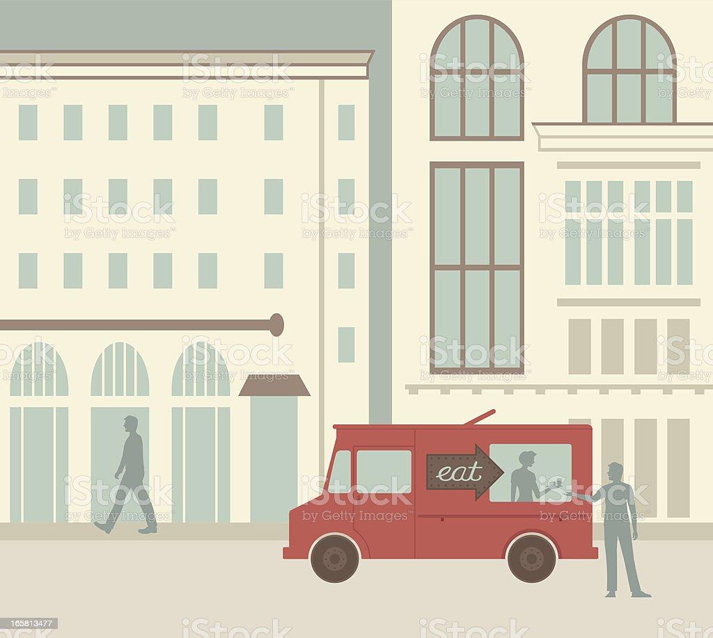 City Food Truck vector art illustration