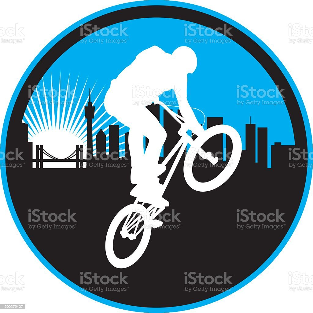 City Freestyle Biker vector art illustration