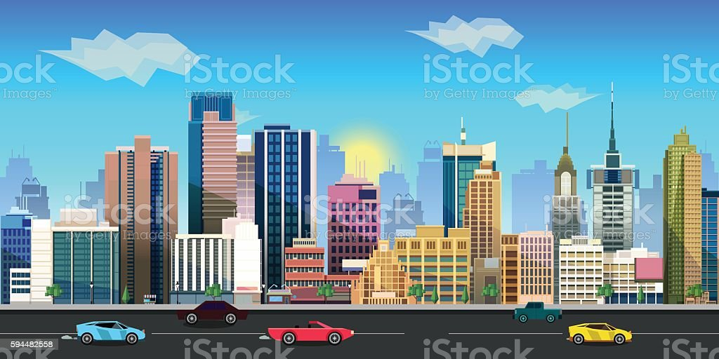 city game background 2d  application. Vector design. vector art illustration