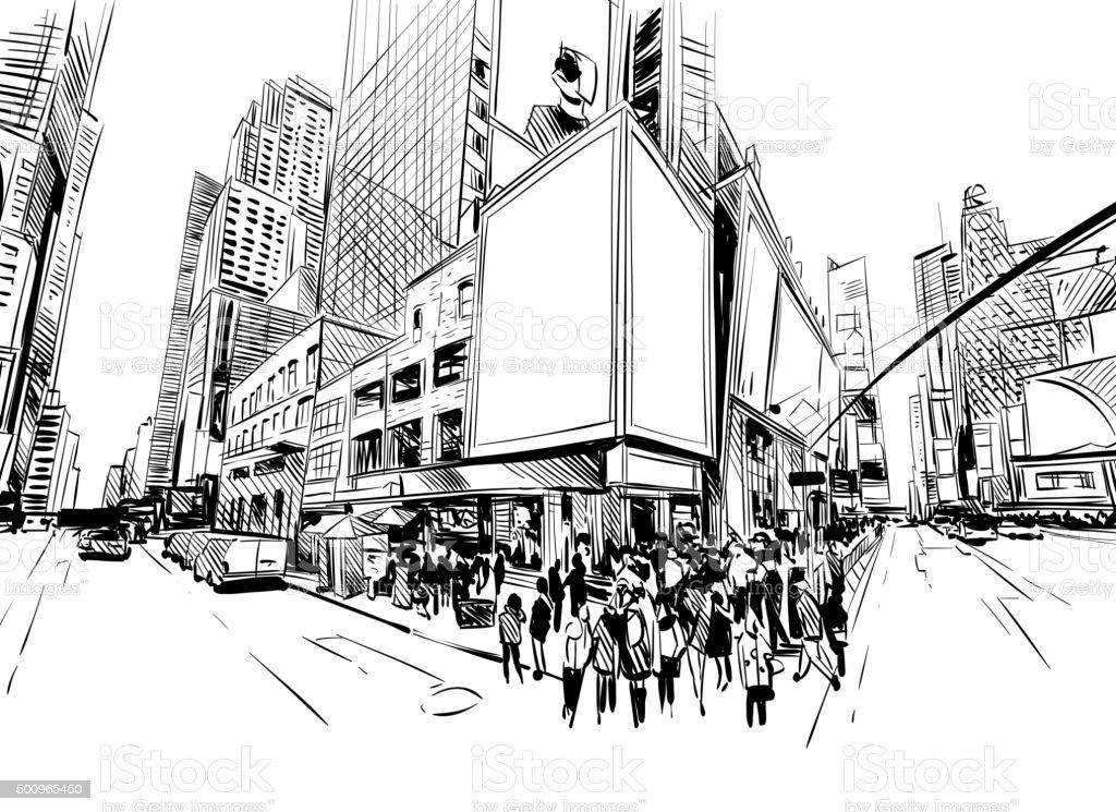 City hand drawn unique perspectives, vector illustration vector art illustration