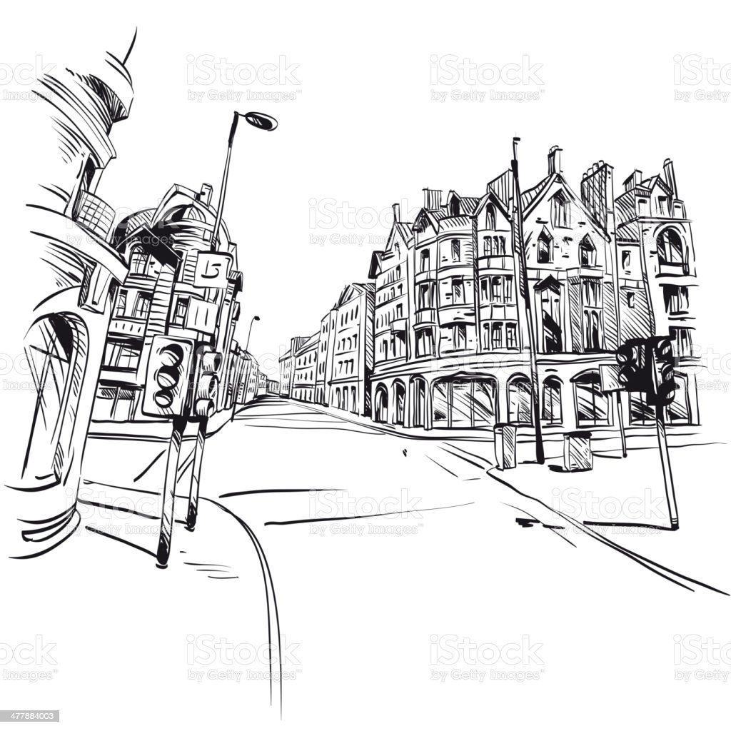 City hand drawn. Vector illustration vector art illustration