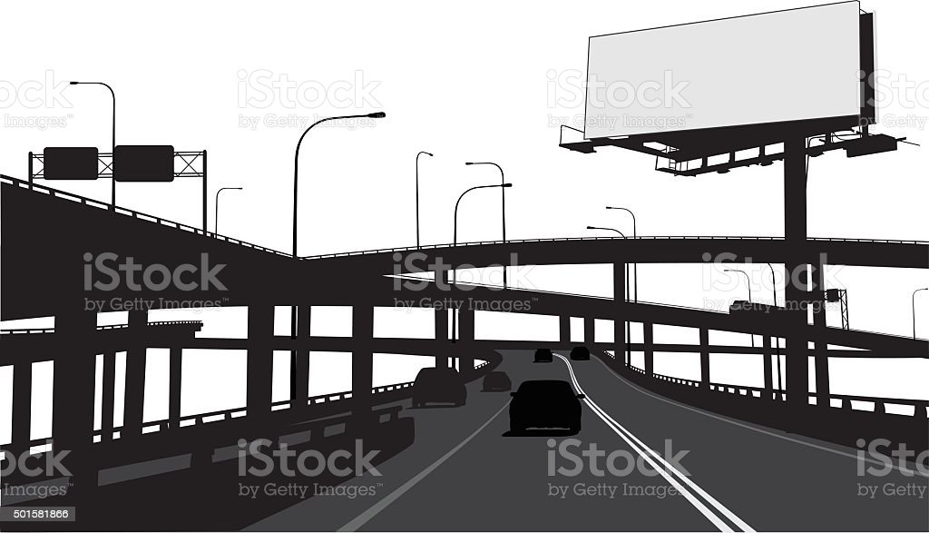 City Highway Billboard vector art illustration