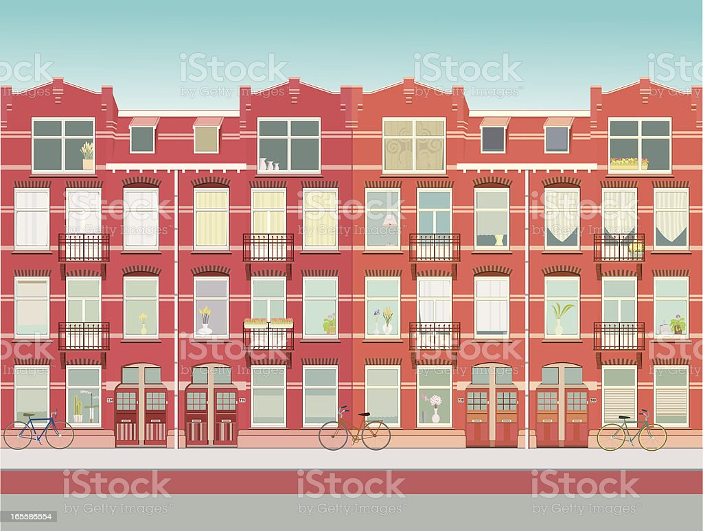 City houses with lots of windows royalty-free stock vector art