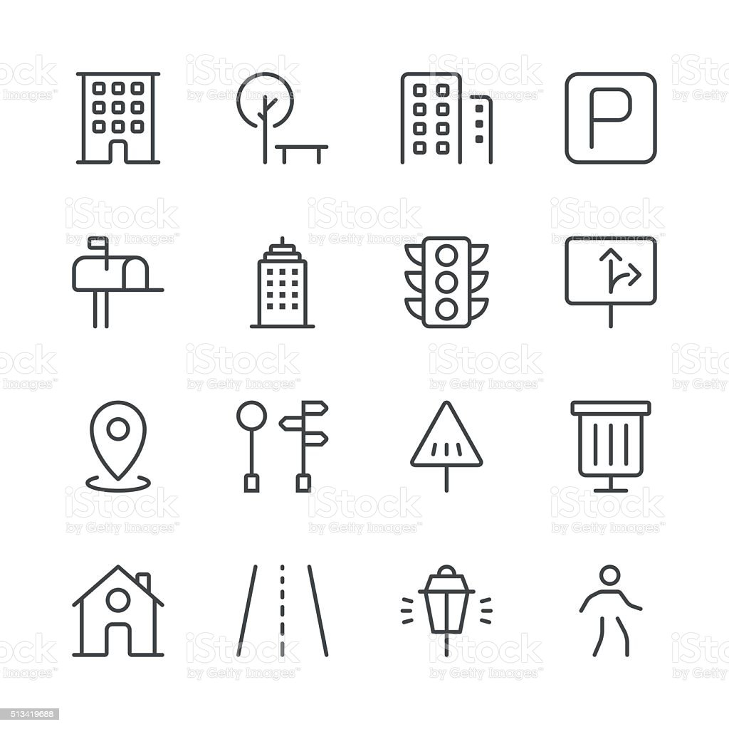 City Icons set 1 | Black Line series vector art illustration