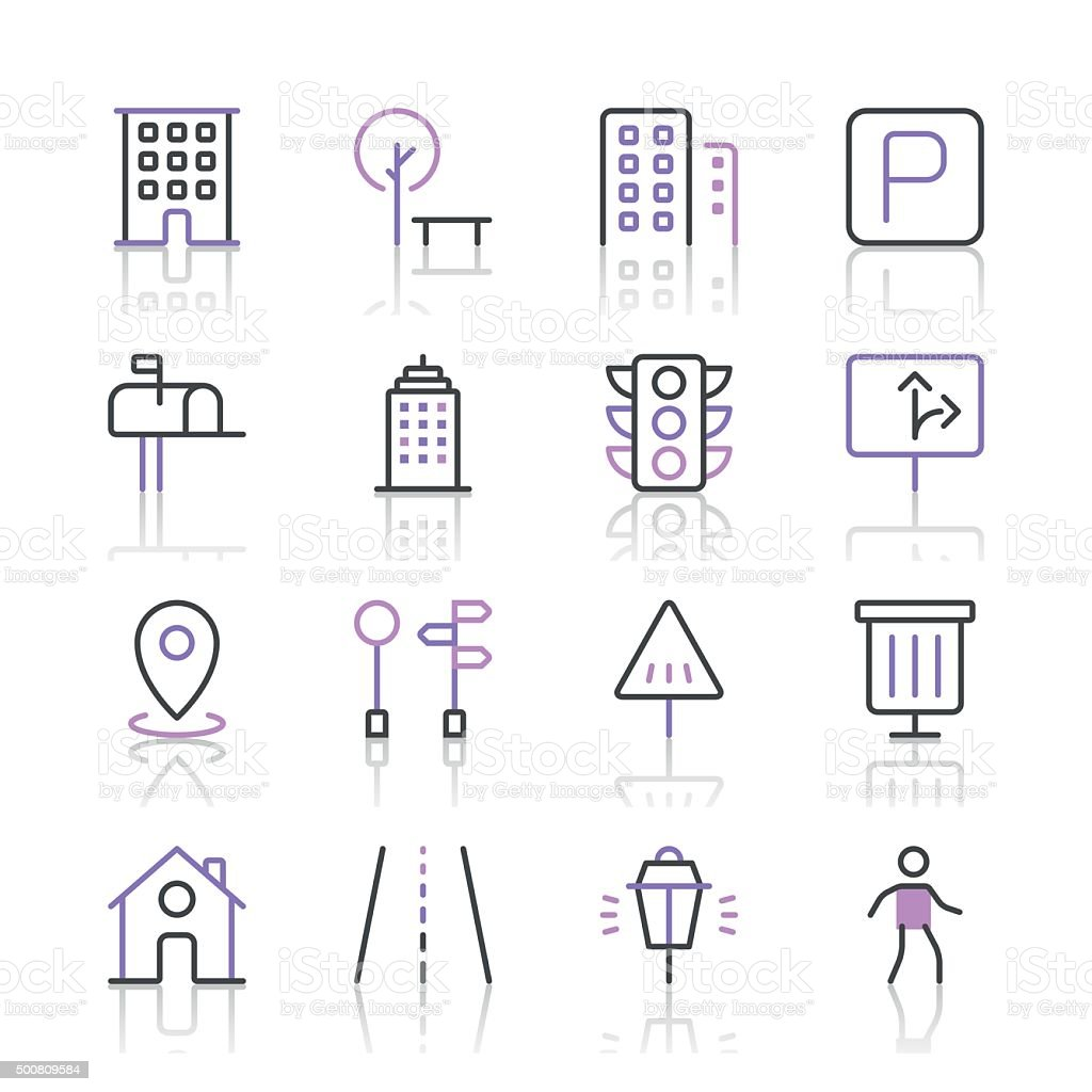 City Icons set 1 | Purple Line series vector art illustration