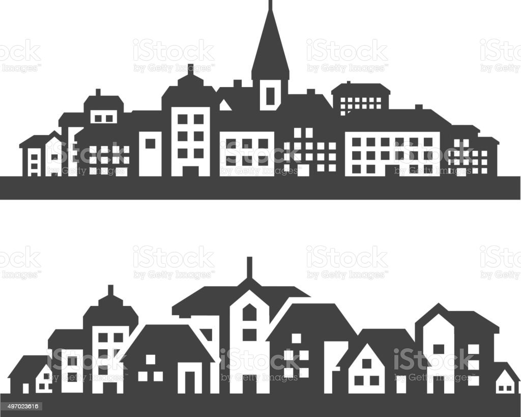 city icons set. signs and symbols vector art illustration