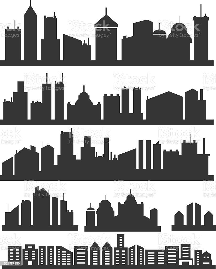 City icons set vector art illustration