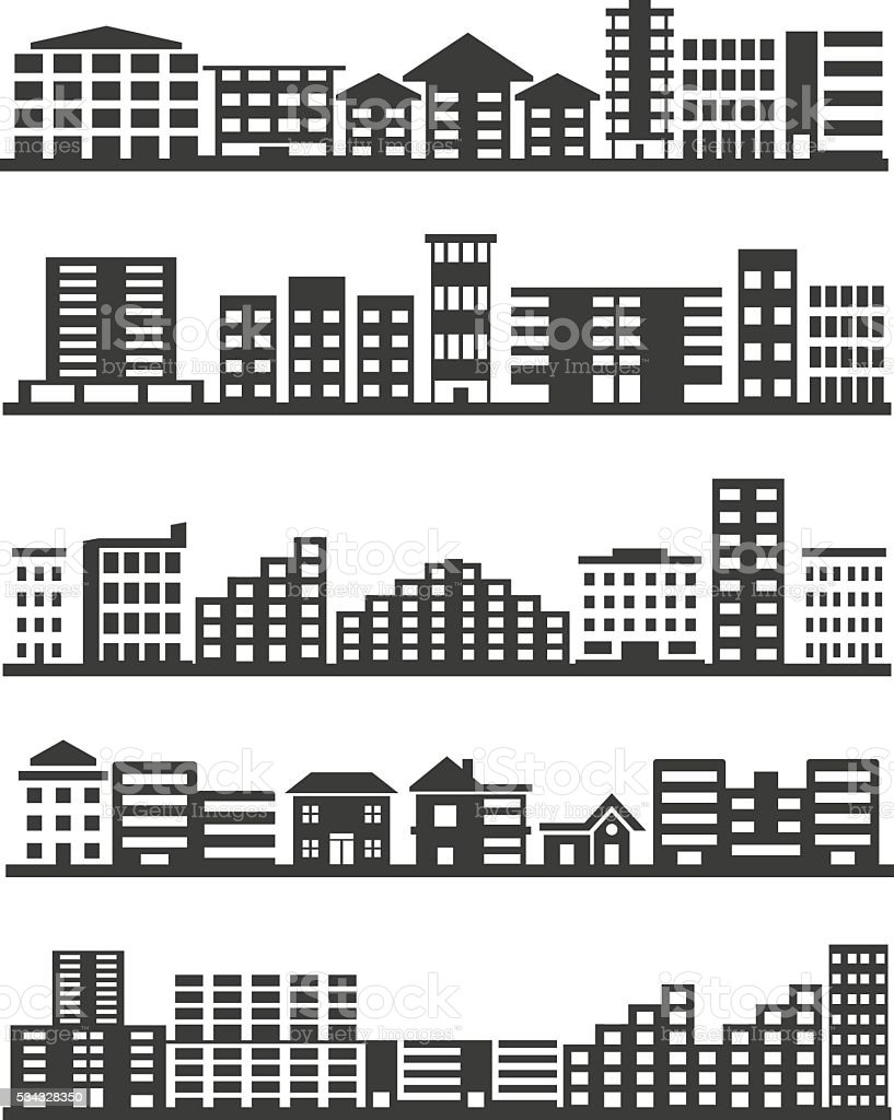 City icons set vector art illustration