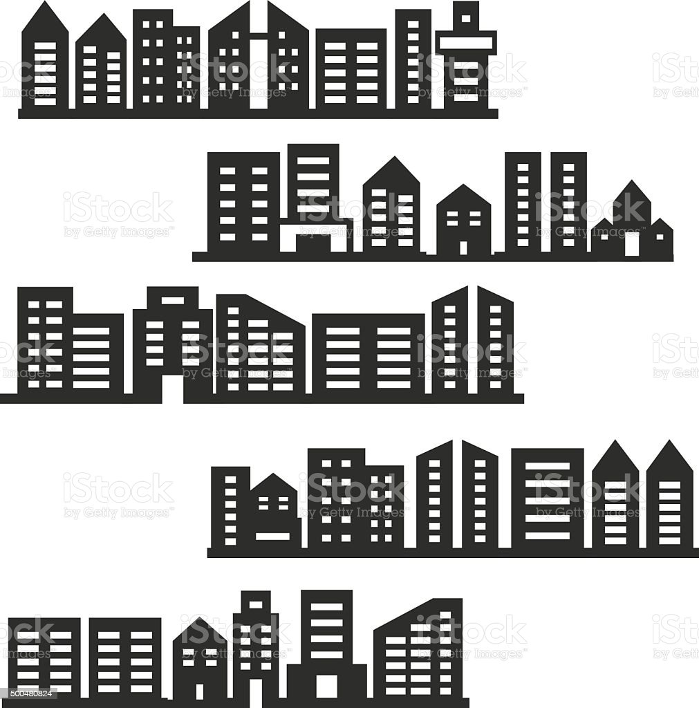 City icons vector art illustration