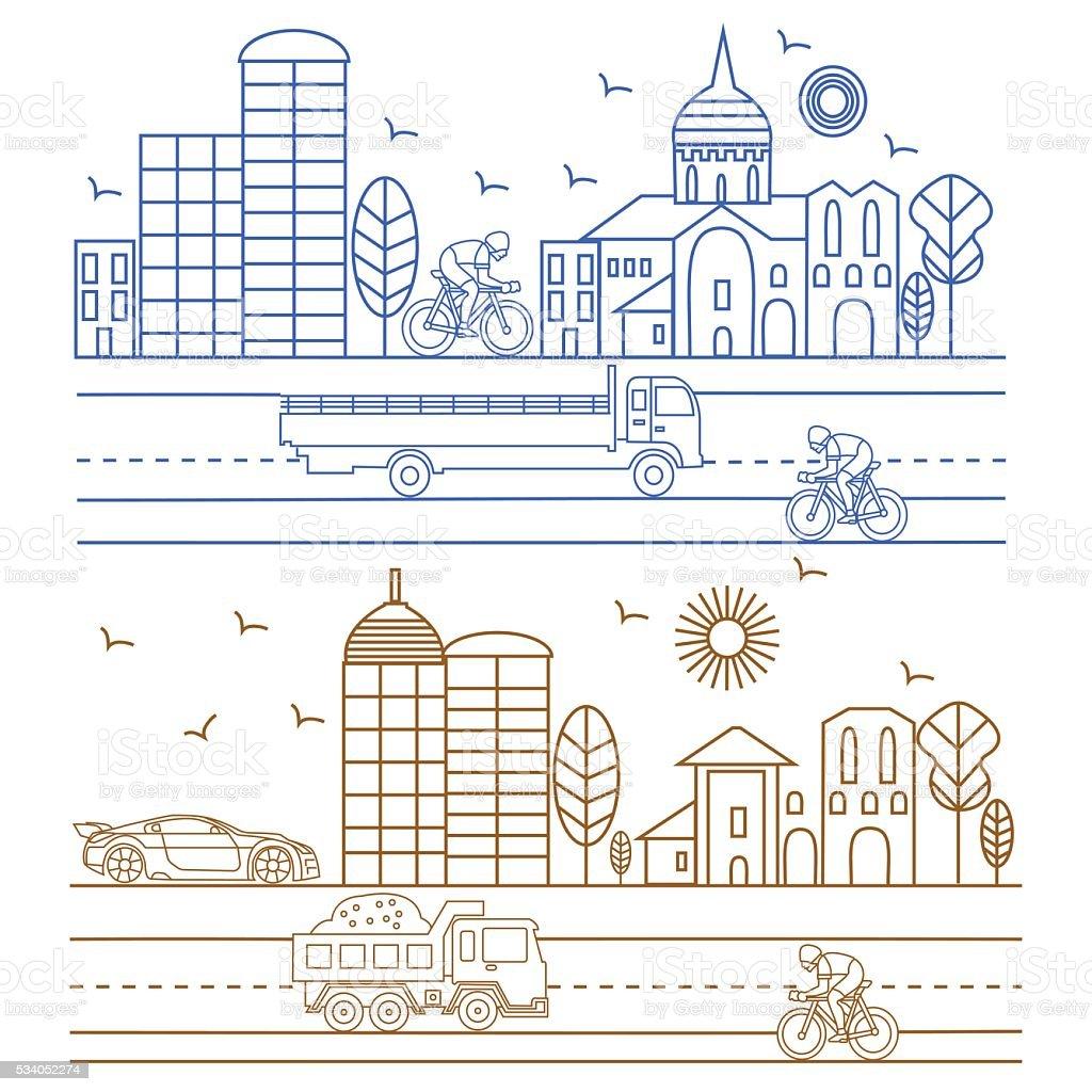 City illustration birds, buildings, cathedrals vector art illustration