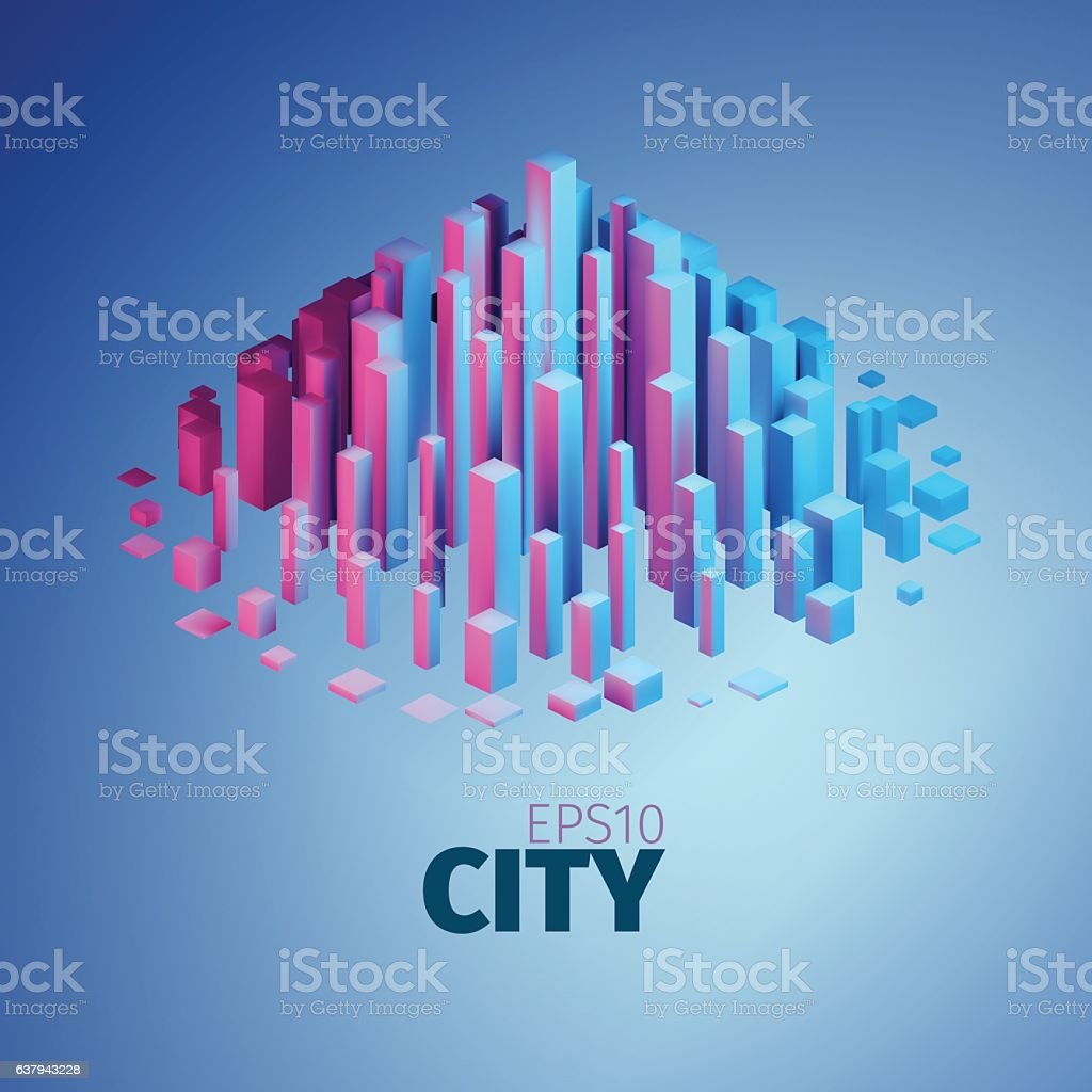 City illustration. Vector abstract element. Vertical boxes vector art illustration