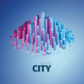 City illustration. Vector abstract element. Vertical boxes