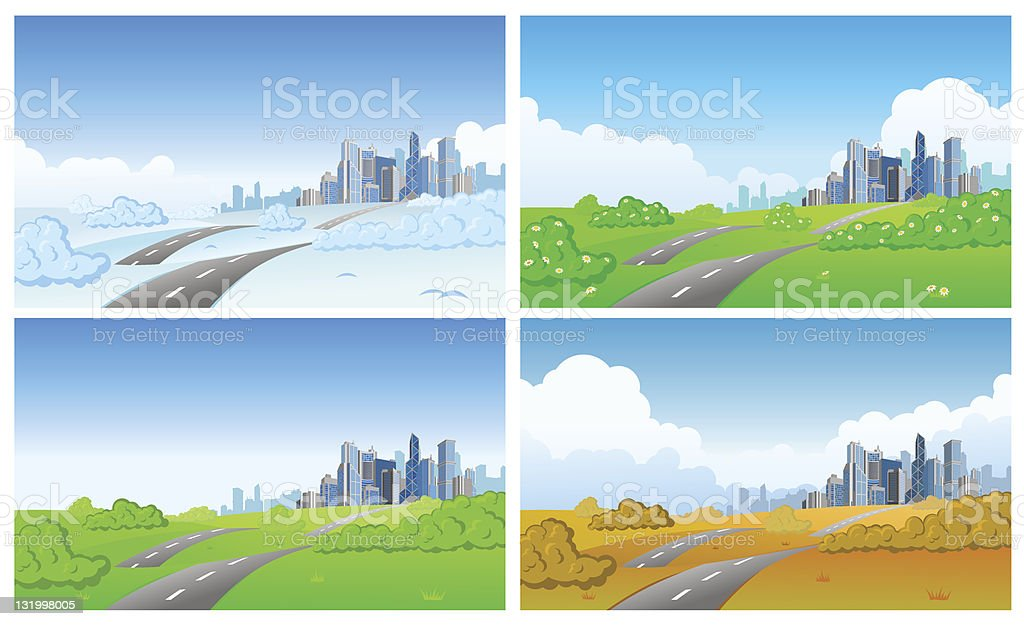 City in four seasons royalty-free stock vector art
