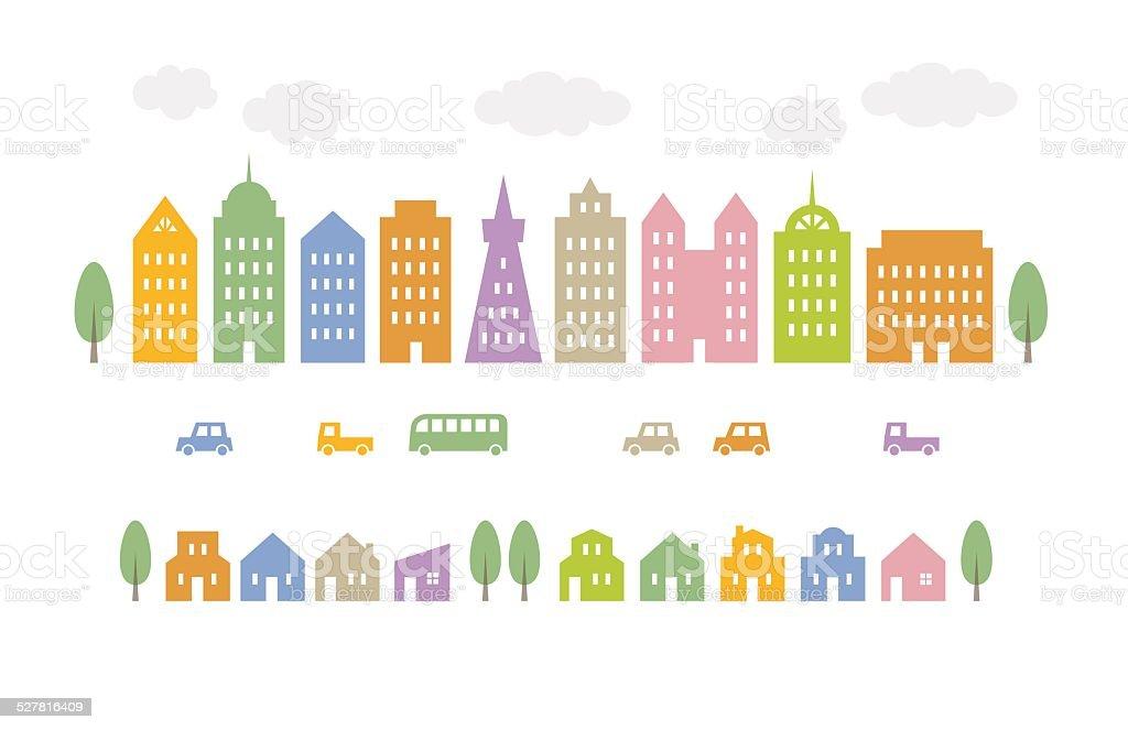 City in light color vector art illustration