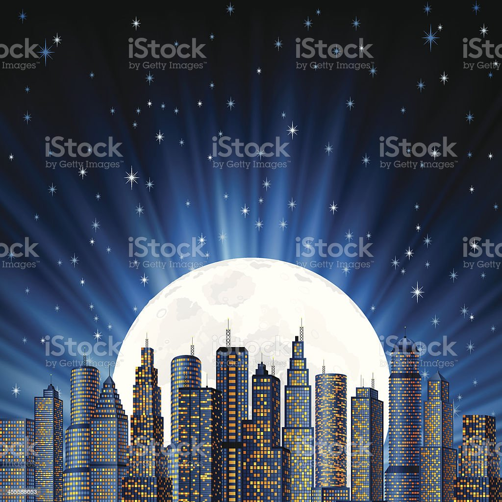 City in the moon light royalty-free stock vector art