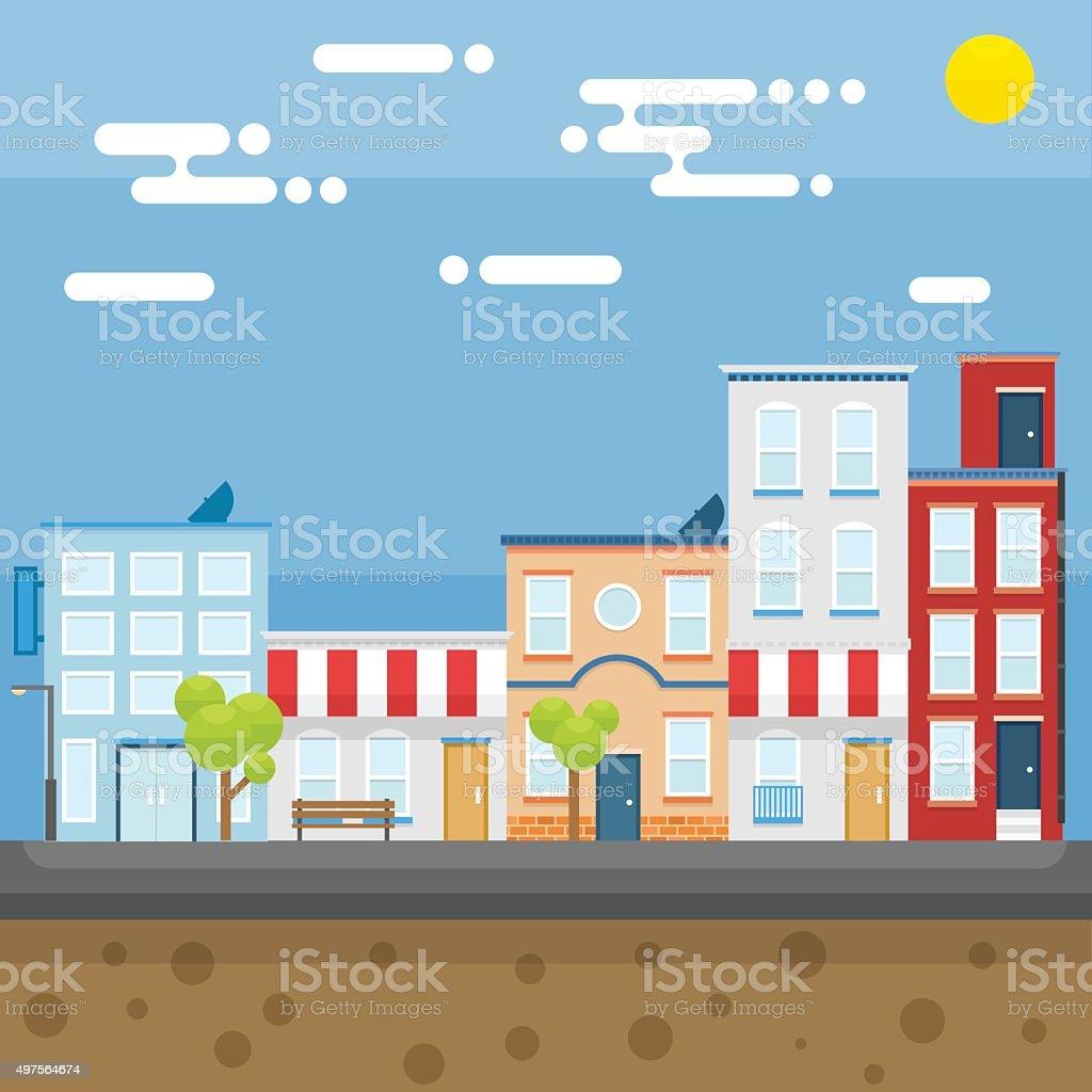 City in the morning vector art illustration