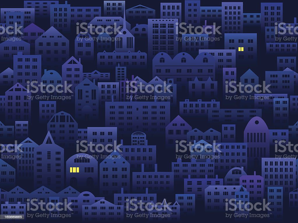 City in the night seamless background vector art illustration
