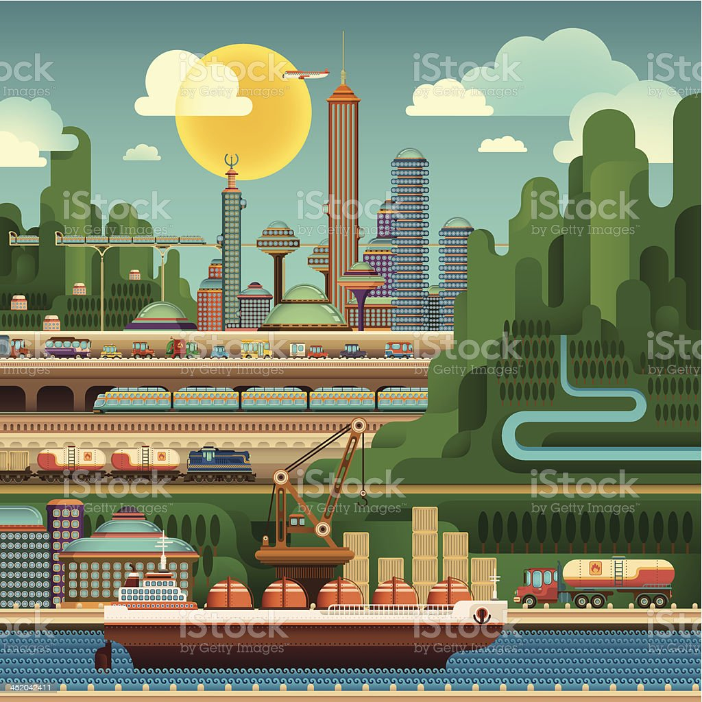 City in the valley. royalty-free stock vector art