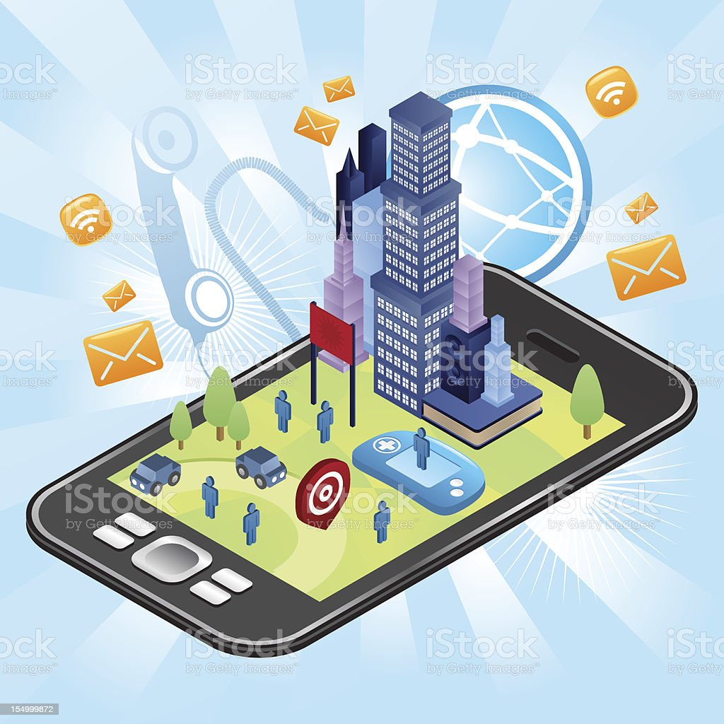 City in your smart phone vector art illustration