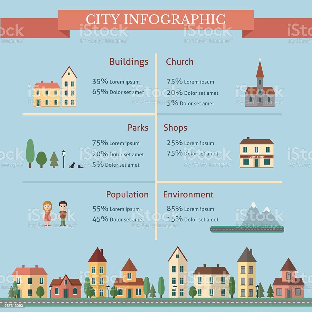 City infographic vector art illustration