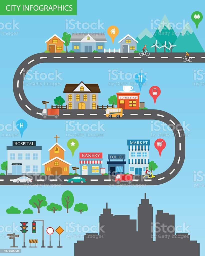 city infographics vector art illustration