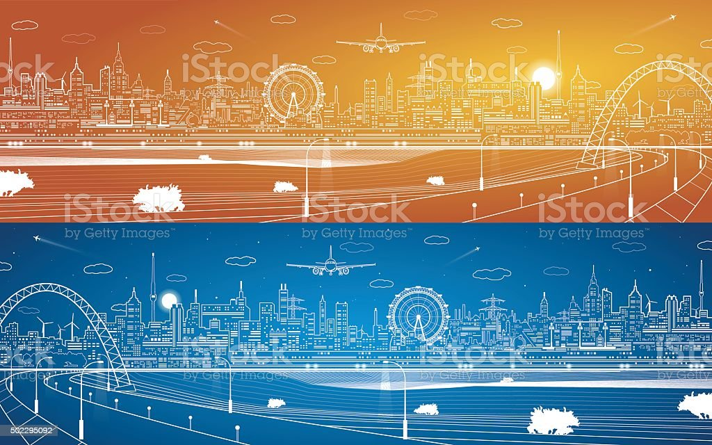 City infrastructure panorama, industrial landscape vector art illustration
