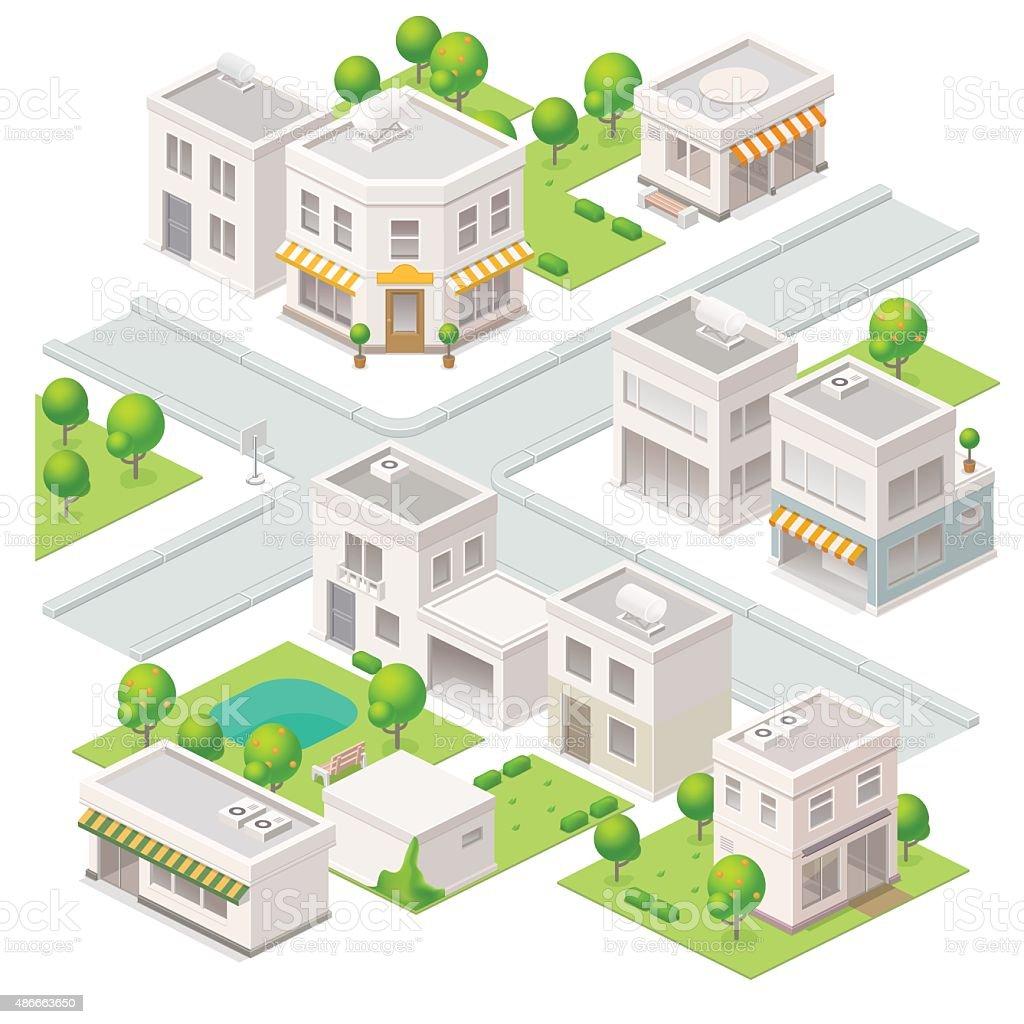 City isometric buildings. vector art illustration