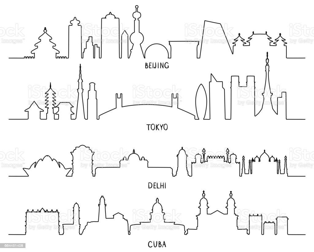 city Landmarks (Beijing, Tokyo, New Delhi, Cuba) vector art illustration