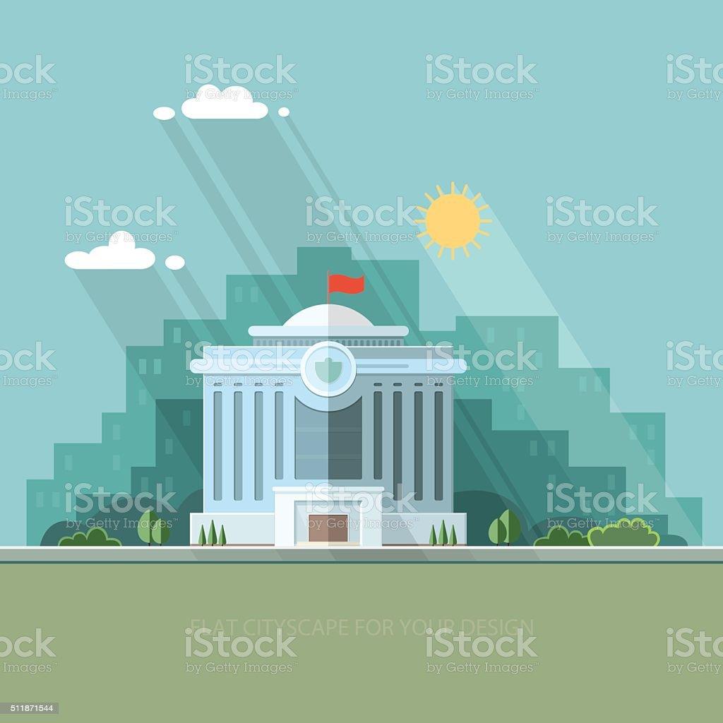 City landscape. municipal building, City Hall, the Government, the court vector art illustration