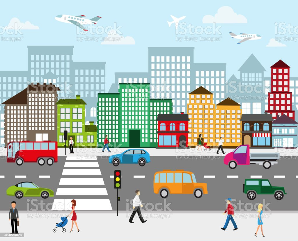 City landscape vector art illustration