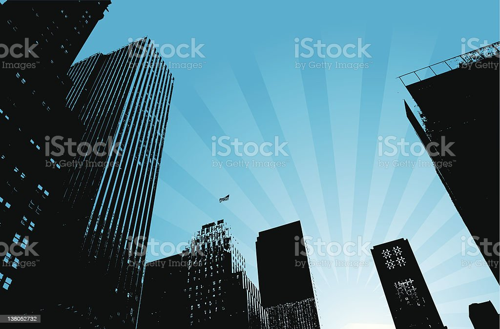 City landscape with a blue starburst sky royalty-free stock vector art