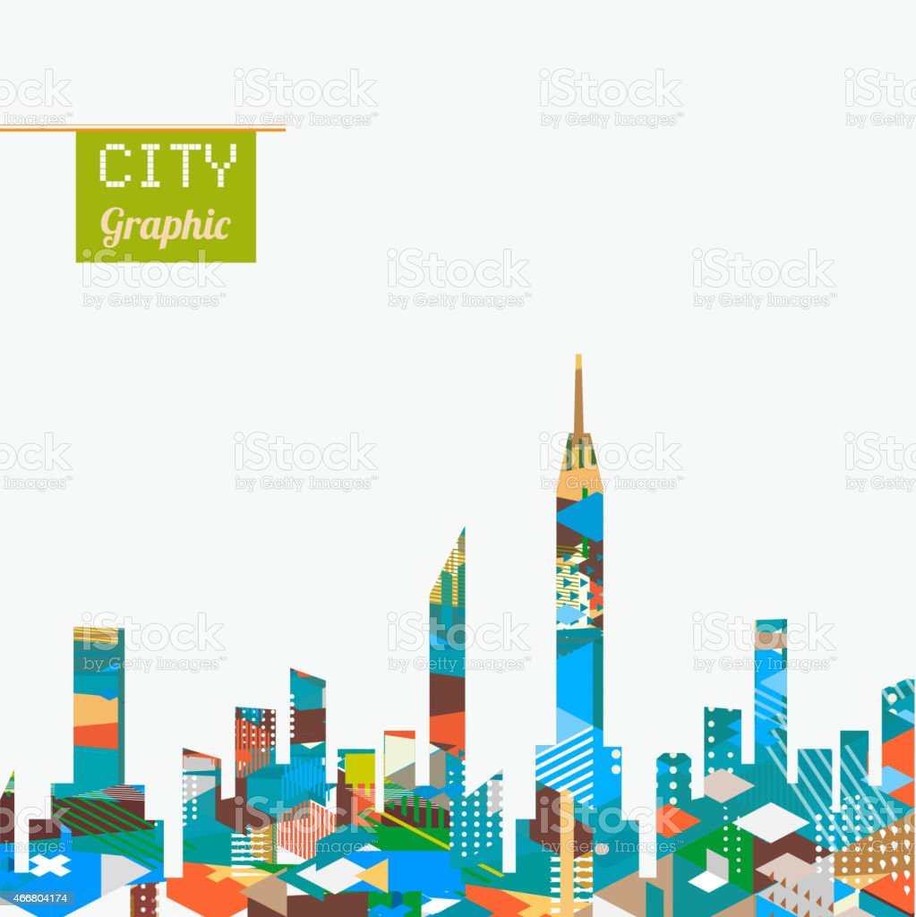 City landscape with colorful geometric graphic isolate on background vector art illustration