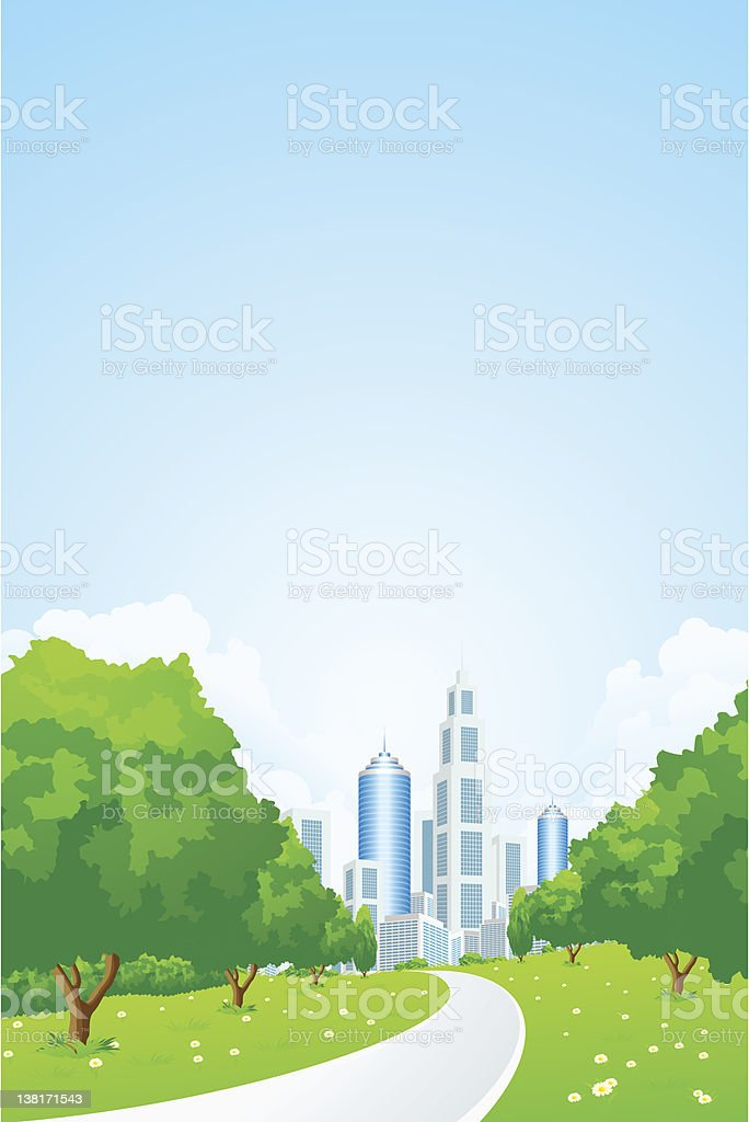City Landscape with Green Trees royalty-free stock vector art
