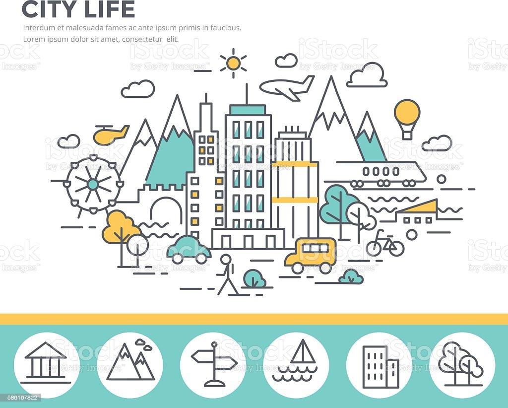 City life concept illustration vector art illustration
