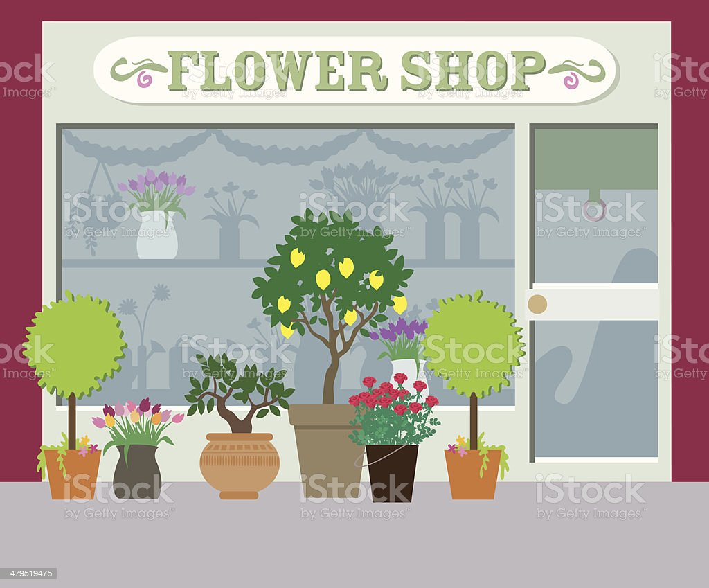 City life series - Flower Shop vector art illustration