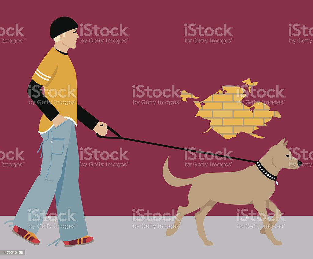City life series - Walking the dog vector art illustration