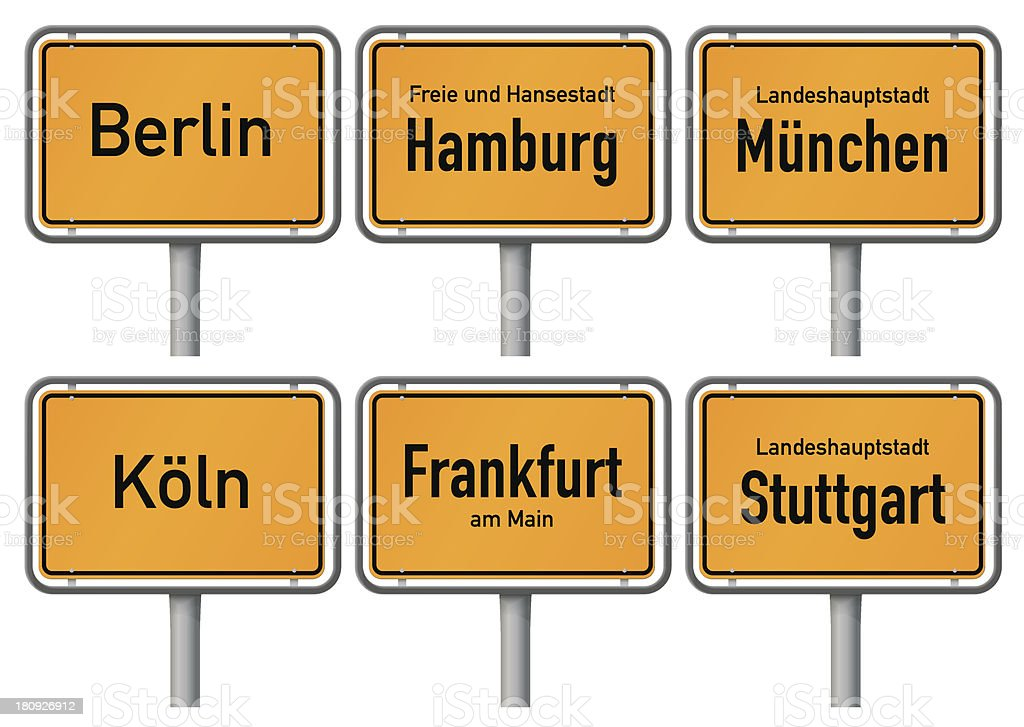 City limits signs of major german cities, Part 1 royalty-free stock vector art
