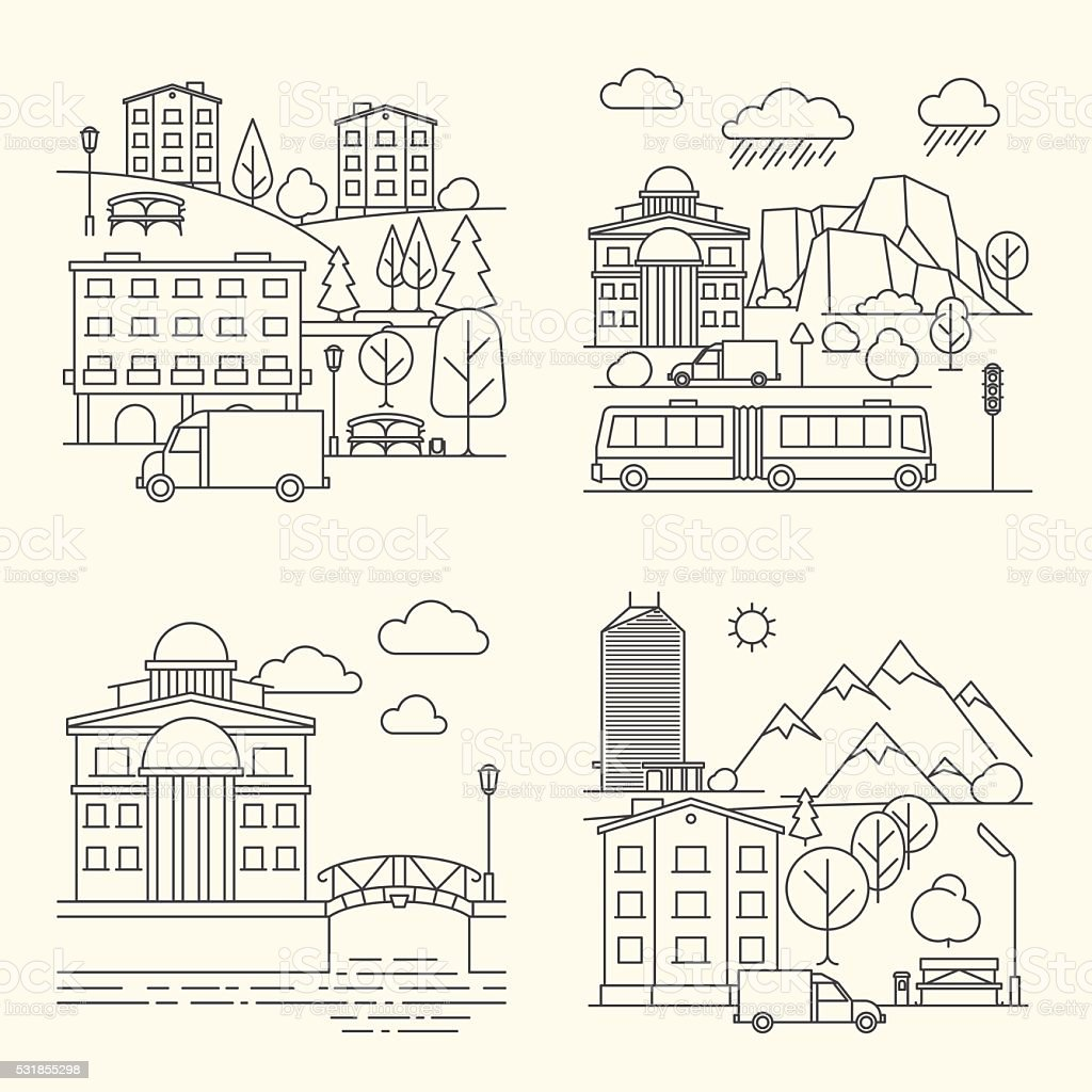 City linear elements in line style vector art illustration