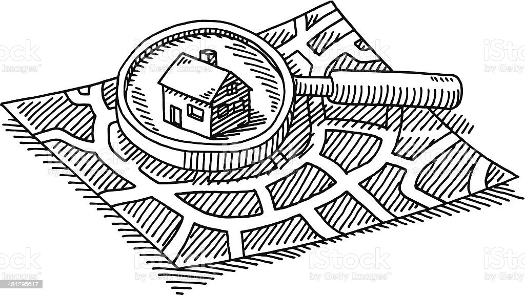 City Map Finding House Loupe Drawing vector art illustration