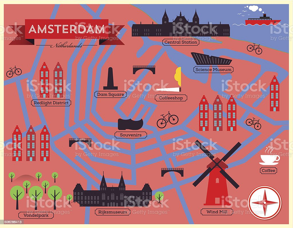 City Map Illustration of Amsterdam. Landmarks and Vector Map Icons. vector art illustration
