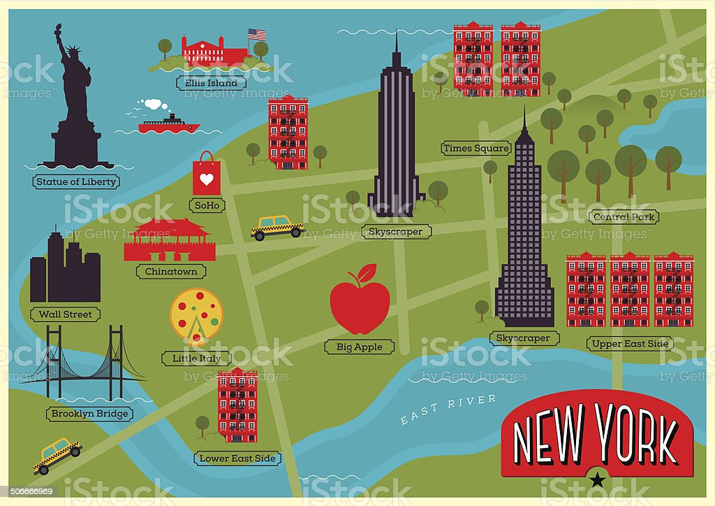 City Map Illustration of New York. vector art illustration
